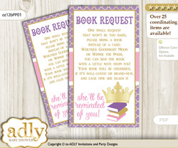 Request a Book Instead of a Card for Royal Princess Baby Shower or Birthday, Printable Book DIY Tickets, Crown, Purple Pink
