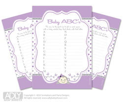 Girl  Monkey Baby ABC's Game, guess Animals Printable Card for Baby  Monkey Shower DIY – Purple