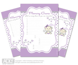 Girl  Monkey Memory Game Card for Baby Shower, Printable Guess Card,  Grey,  Purple
