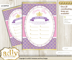 Royal Princess Guess Baby Food Game or Name That Baby Food Game for a Baby Shower, Purple Pink Crown