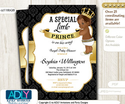 Gold Black African American Prince King Invitation for Baby Shower