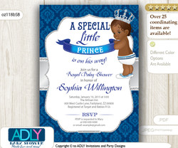 Silver Royal Blue  African American Prince King Invitation for Baby Shower