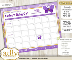DIY Girl Butterfly Baby Due Date Calendar, guess baby arrival date game