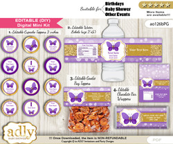 DIY Text Editable Girl Butterfly Baby Shower, Birthday digital package, kit-cupcake, goodie bag toppers, water labels, chocolate bar wrappers
