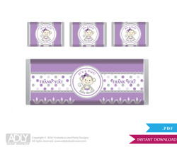Girl  Monkey  Chocolate Bar Wrapper and Nuggets Candy Wrapper Label for Baby  Girl Shower  Grey ,  Purple