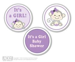 Printable  Girl  Monkey Candy Kisses for Baby  Girl Shower DIY  Grey ,  Purple