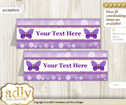 DIY Text Editable Printable Girl Butterfly Buffet Tags or Food Tent Labels  for a Baby Shower or Birthday , Purple Gold, Kisses