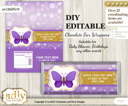 DIY Personalizable Girl Butterfly Chocolate Bar Candy Wrapper Label for Girl  baby shower, birthday Purple Gold , editable wrappers