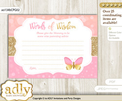 Coral Pink  Kisses Butterfly Words of Wisdom or an Advice Printable Card for Baby Shower, Bokeh