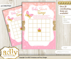 Printable Coral Pink  Butterfly Bingo Game Printable Card for Baby Kisses Shower DIY grey, Coral Pink , Bokeh