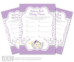 Girl  Monkey  Guess Baby Food Game or Name That Baby Food Game for a Baby Shower,  Grey Purple