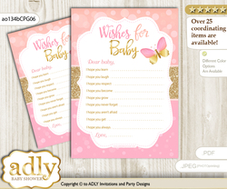 Kisses Butterfly Wishes for a Baby, Well Wishes for a Little Butterfly Printable Card, Bokeh, Coral Pink