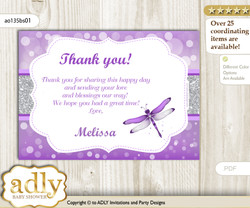 Girl Dragonfly Thank you Printable Card with Name Personalization for Baby Shower or Birthday Party n
