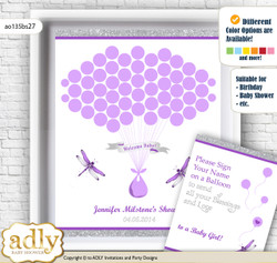 Girl Dragonfly Guest Book Alternative for a Baby Shower, Creative Nursery Wall Art Gift, Purple Grey, Bokeh