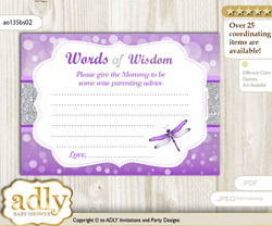 Purple Grey Girl Dragonfly Words of Wisdom or an Advice Printable Card for Baby Shower, Bokeh