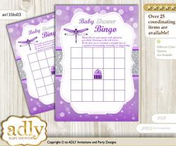 Printable Purple Grey Dragonfly Bingo Game Printable Card for Baby Girl Shower DIY grey, Purple Grey, Bokeh