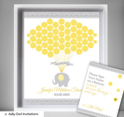 Neutral Elephant  Guest Book Alternative for a Baby Shower, Creative Nursery Wall Art Gift,  Yellow Grey,  Chevron