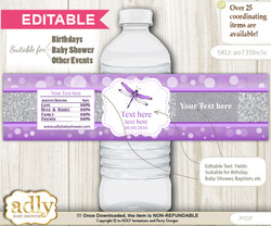 DIY Text Editable Girl Dragonfly Water Bottle Label, Personalizable Wrapper Digital File, print at home for any event