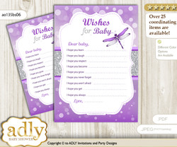 Girl Dragonfly Wishes for a Baby, Well Wishes for a Little Dragonfly Printable Card, Bokeh, Purple Grey