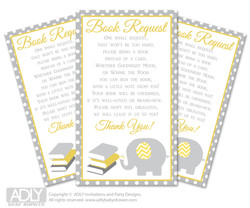 Request a Book Instead of a Card for  Neutral Elephant Baby Shower or Birthday, Printable Book DIY Tickets,  Chevron, Yellow Grey