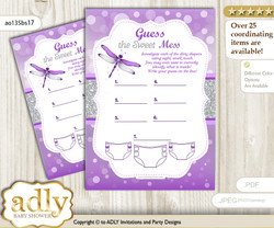 Girl Dragonfly Dirty Diaper Game or Guess Sweet Mess Game for a Baby Shower Purple Grey, Bokeh