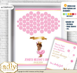 African Princess Guest Book Alternative for a Baby Shower, Creative Nursery Wall Art Gift, Crown, Chevron