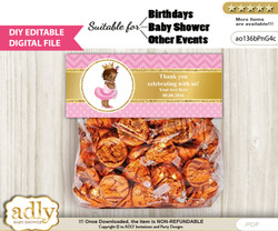 DIY Text Editable African Princess Goodie  Treat Bag Toppers, Favor Bag Digital File, print at home  nnn