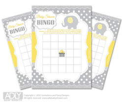 Printable  Yellow Grey Elephant Bingo Game Printable Card for Baby  NeutralShower DIY grey,  Yellow Grey,  Chevron