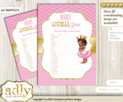 Printable African Princess Baby Animal Game, Guess Names of Baby Animals Printable for Baby Princess Shower, Crown, Chevron