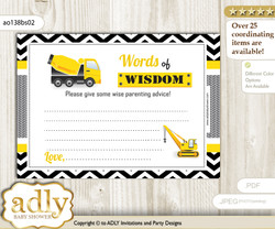 Yellow Black Truck Construction Words of Wisdom or an Advice Printable Card for Baby Shower, Chevron