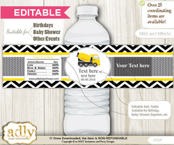 DIY Text Editable Truck Construction Water Bottle Label, Personalizable Wrapper Digital File, print at home for any event