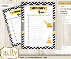 Truck Construction Memory Game Card for Baby Shower, Printable Guess Card, Yellow Black, Chevron