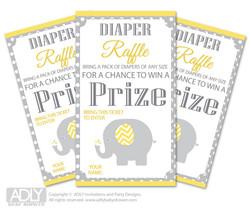 Neutral Elephant Diaper Raffle Printable Tickets for Baby Shower,  Yellow Grey,  Chevron