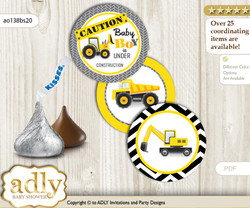 Printable  Truck Construction Candy Kisses for Baby Truck Shower DIY Yellow Black , Chevron