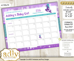 DIY Sea Mermaid Baby Due Date Calendar, guess baby arrival date game