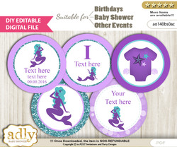 DIY Text Editable Sea Mermaid Cupcake Toppers Digital File, print at home, suitable for birthday, baby shower, baptism