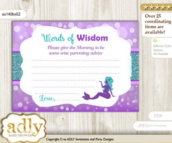 Purple Teal Sea Mermaid Words of Wisdom or an Advice Printable Card for Baby Shower, Glitter