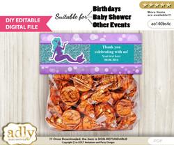 DIY Text Editable Sea Mermaid Goodie  Treat Bag Toppers, Favor Bag Digital File, print at home