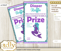 Sea Mermaid Diaper Raffle Printable Tickets for Baby Shower, Purple Teal, Glitter