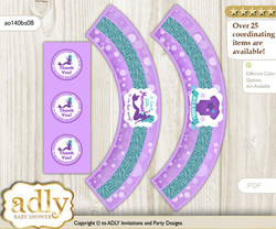 Printable Sea Mermaid Cupcake, Muffins Wrappers plus Thank You tags for Baby Shower Purple Teal, Glitter