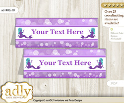 DIY Text Editable Printable Sea Mermaid Buffet Tags or Food Tent Labels  for a Baby Shower or Birthday , Purple Teal, Glitter