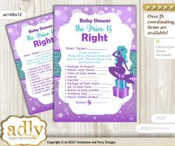 Printable Sea Mermaid Price is Right Game Card for Baby Mermaid Shower, Purple Teal, Glitter