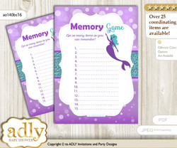 Sea Mermaid Memory Game Card for Baby Shower, Printable Guess Card, Purple Teal, Glitter