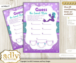 Sea Mermaid Dirty Diaper Game or Guess Sweet Mess Game for a Baby Shower Purple Teal, Glitter
