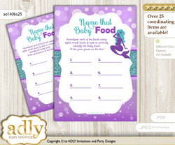 Sea Mermaid Guess Baby Food Game or Name That Baby Food Game for a Baby Shower, Purple Teal Glitter