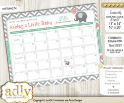 DIY Unisex Elephant Baby Due Date Calendar, guess baby arrival date game