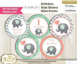 DIY Text Editable Unisex Elephant Cupcake Toppers Digital File, print at home, suitable for birthday, baby shower, baptism