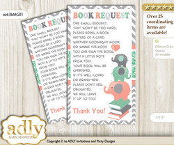 Request a Book Instead of a Card for Unisex Elephant Baby Shower or Birthday, Printable Book DIY Tickets, Chevron, Peach Mint