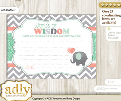 Peach Mint Unisex Elephant Words of Wisdom or an Advice Printable Card for Baby Shower, Chevron