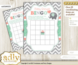 Printable Peach Mint Elephant Bingo Game Printable Card for Baby Unisex Shower DIY grey, Peach Mint, Chevron